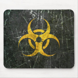 Scratched and Worn Yellow Biohazard Symbol Mouse Pad