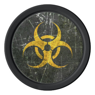 Scratched and Worn Yellow Biohazard Symbol Set Of Poker Chips
