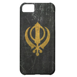 Scratched and Worn Yellow Sikh Khanda Symbol Cover For iPhone 5C