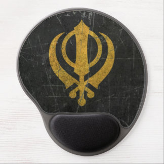 Scratched and Worn Yellow Sikh Khanda Symbol Gel Mouse Pad