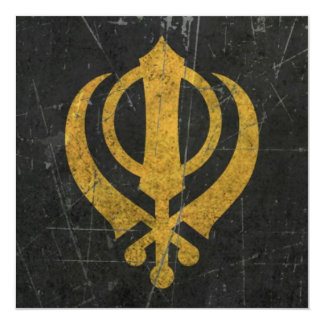 "Scratched and Worn Yellow Sikh Khanda Symbol 5.25"" Square Invitation Card"