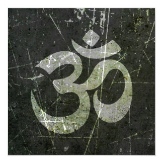 Scratched and Worn Yoga Om Symbol 5.25x5.25 Square Paper Invitation Card