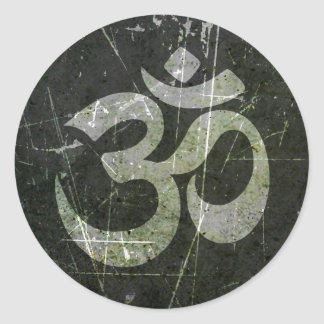 Scratched and Worn Yoga Om Symbol Round Stickers