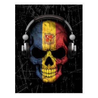 Scratched Andorran Dj Skull with Headphones Postcard