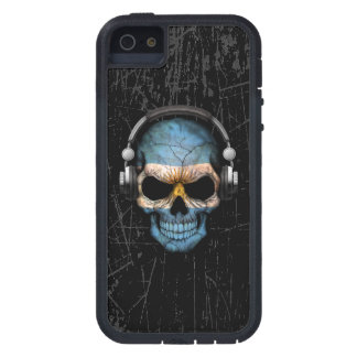 Scratched Argentine Dj Skull with Headphones Case For iPhone SE/5/5s