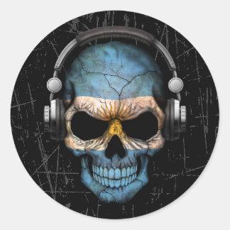 Scratched Argentine Dj Skull with Headphones Classic Round Sticker