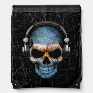 Scratched Argentine Dj Skull with Headphones Drawstring Bag
