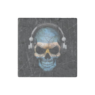 Scratched Argentine Dj Skull with Headphones Stone Magnet