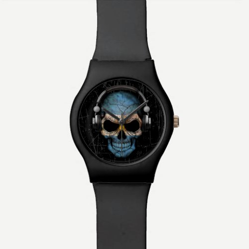 Scratched Argentine Dj Skull with Headphones Wrist Watch