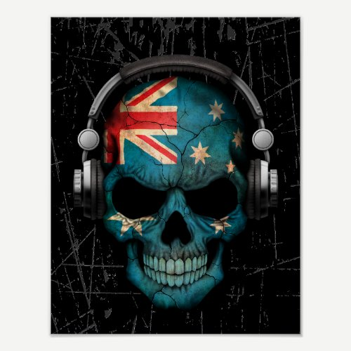 Scratched Australian Dj Skull with Headphones Poster