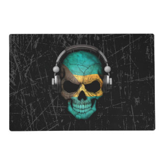 Scratched Bahamas Dj Skull with Headphones Placemat