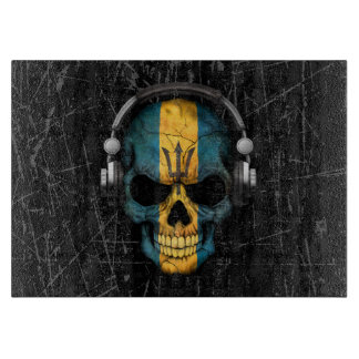 Scratched Barbados Dj Skull with Headphones Cutting Board