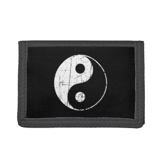 Scratched Black and White Vintage Yin Yang Tri-fold Wallet
