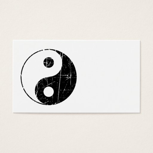 Scratched Black Vintage Yin Yang Business Card