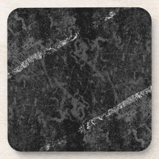 Scratched black wall with white stripes beverage coaster