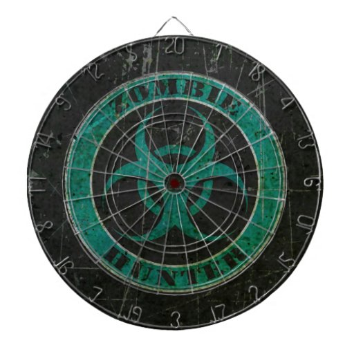 Scratched Blue and Black Bio Hazard Zombie Hunter Dartboard With Darts