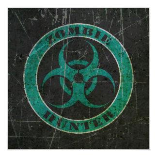 Scratched Blue and Black Bio Hazard Zombie Hunter 5.25x5.25 Square Paper Invitation Card