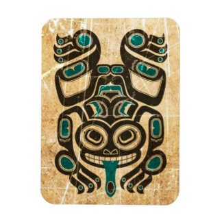 Scratched Blue and Black Haida Spirit Tree Frog Magnet