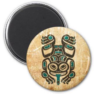 Scratched Blue and Black Haida Spirit Tree Frog Refrigerator Magnet