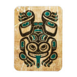 Scratched Blue and Black Haida Spirit Tree Frog Vinyl Magnets