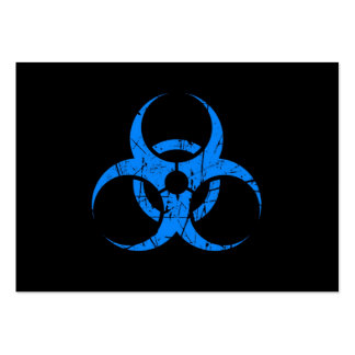 Scratched Blue Biohazard Symbol on Black Business Card