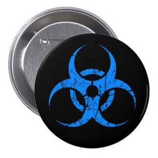 Scratched Blue Biohazard Symbol on Black 3 Inch Round Button