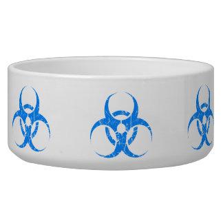 Scratched Blue Biohazard Symbol Pet Food Bowls
