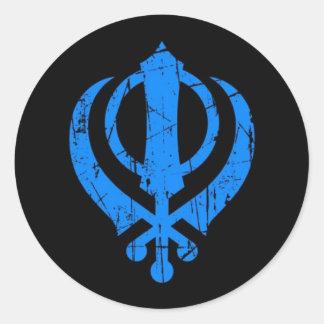 Scratched Blue Sikh Khanda Symbol on Black Classic Round Sticker