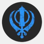 Scratched Blue Sikh Khanda Symbol on Black Round Sticker