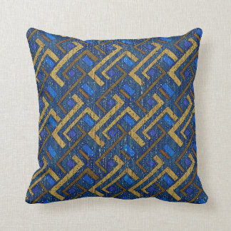 Scratched Blue Throw Pillow