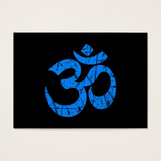 Scratched Blue Yoga Om Symbol on Black Business Card