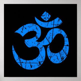 Scratched Blue Yoga Om Symbol on Black Print