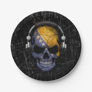 Scratched Bosnian Dj Skull with Headphones Paper Plate
