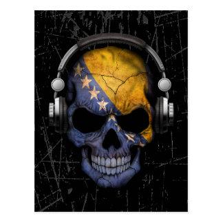 Scratched Bosnian Dj Skull with Headphones Postcard