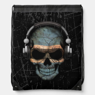 Scratched Botswana Dj Skull with Headphones Drawstring Backpack