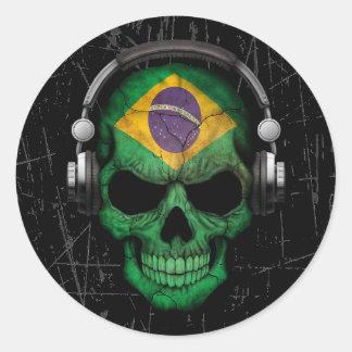 Scratched Brazilian Dj Skull with Headphones Classic Round Sticker