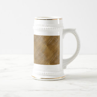 Scratched Brushed Gold Metal Look Beer Stein