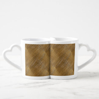 Scratched Brushed Gold Metal Look Couples Coffee Mug