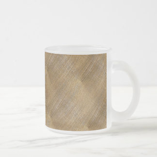Scratched Brushed Gold Metal Look Frosted Glass Coffee Mug