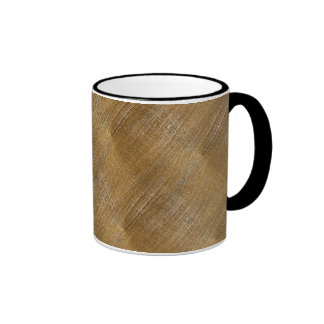 Scratched Brushed Gold Metal Look Ringer Mug