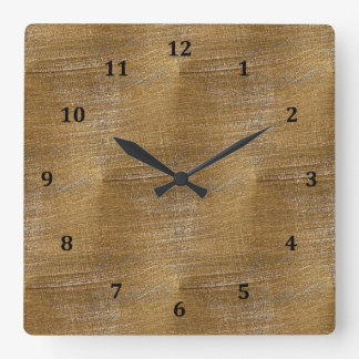 Scratched Brushed Gold Metal Look Square Wall Clock