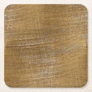 Scratched Brushed Gold Metal Look Square Paper Coaster