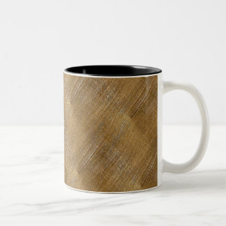 Scratched Brushed Gold Metal Look Two-Tone Coffee Mug