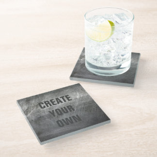 Scratched Brushed Metal Texture Glass Coaster