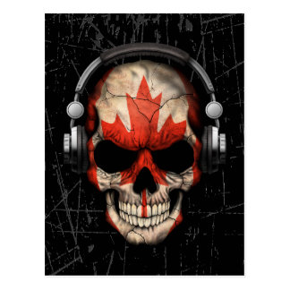 Scratched Canadian Dj Skull with Headphones Postcard