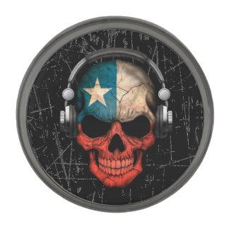 Scratched Chilean Dj Skull with Headphones Gunmetal Finish Lapel Pin