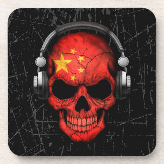 Scratched Chinese Dj Skull with Headphones Beverage Coasters