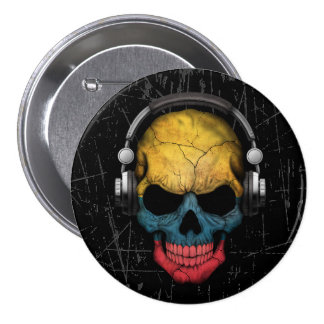 Scratched Colombian Dj Skull with Headphones 3 Inch Round Button