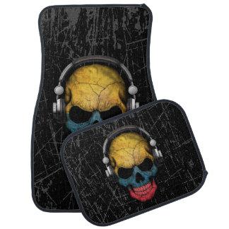 Scratched Colombian Dj Skull with Headphones Car Floor Mat