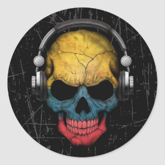 Scratched Colombian Dj Skull with Headphones Classic Round Sticker
